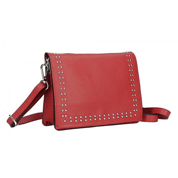 Kožená kabelka s cvokmi MI199 Made in Italy červená