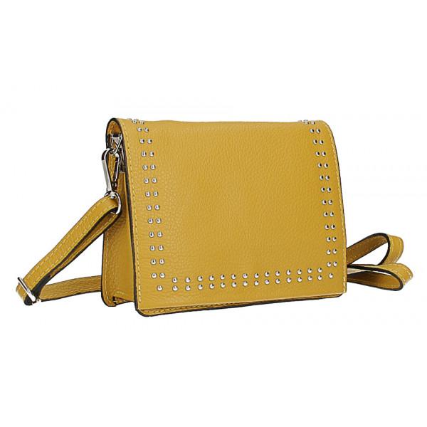 Kožená kabelka s cvokmi MI199 Made in Italy okrová