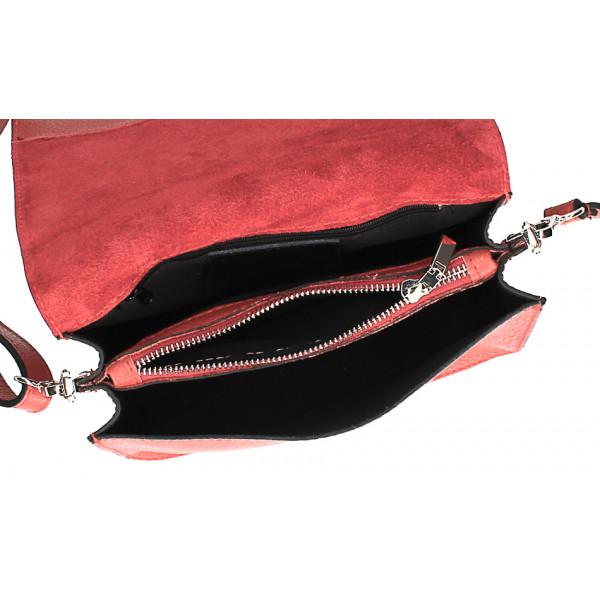 Kožená kabelka s cvokmi MI199 Made in Italy tmavozelená
