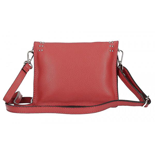 Kožená kabelka s cvokmi MI199 Made in Italy bordová