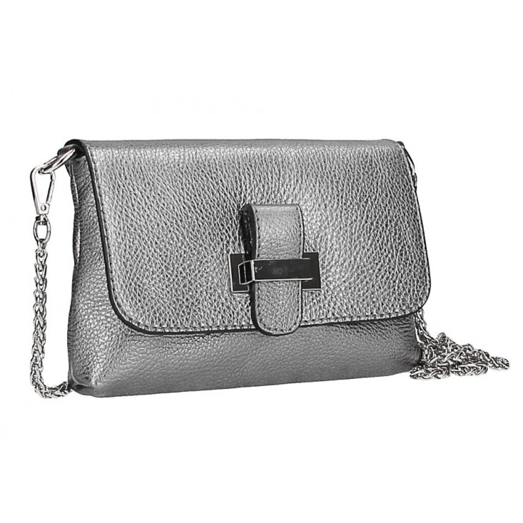 Leather messenger bag  MI305 Made in Italy metallic gray