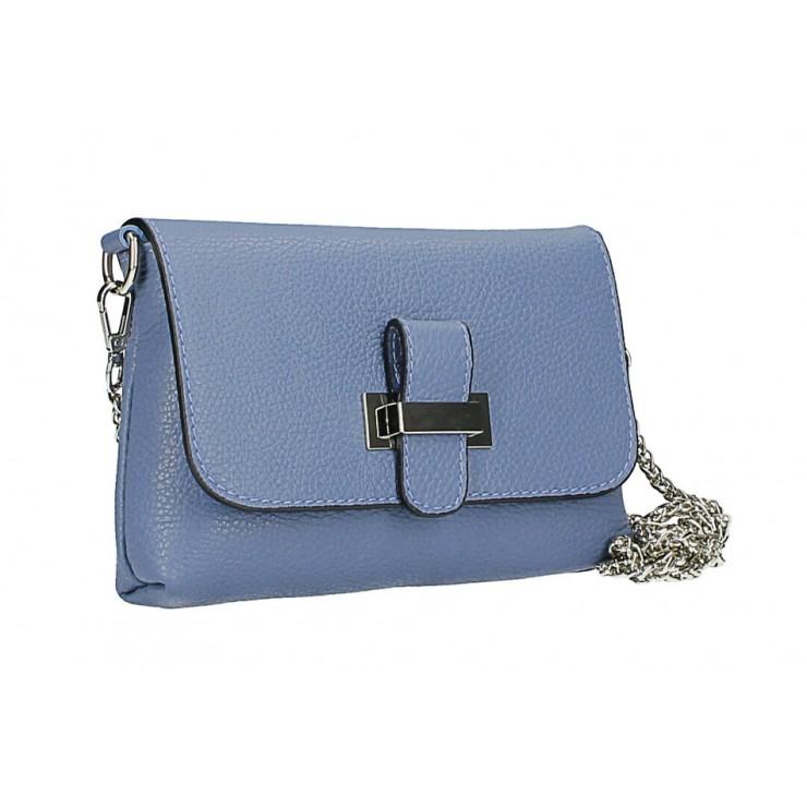 Kožená kabelka na rameno MI305 Made in Italy nebesky modrá