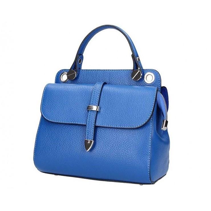 Azurovo modrá talianska kožená kabelka 5315