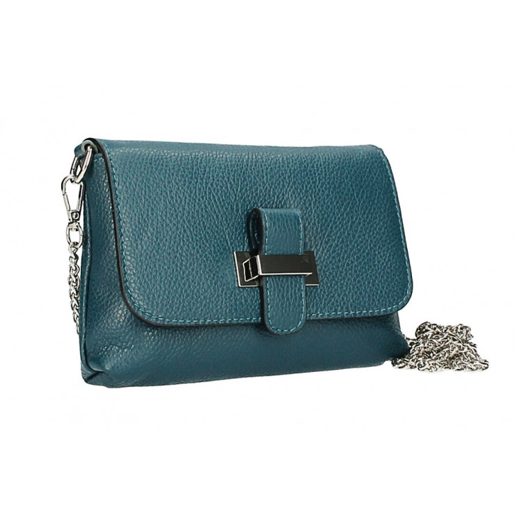 Leather messenger bag  MI305 Made in Italy teal