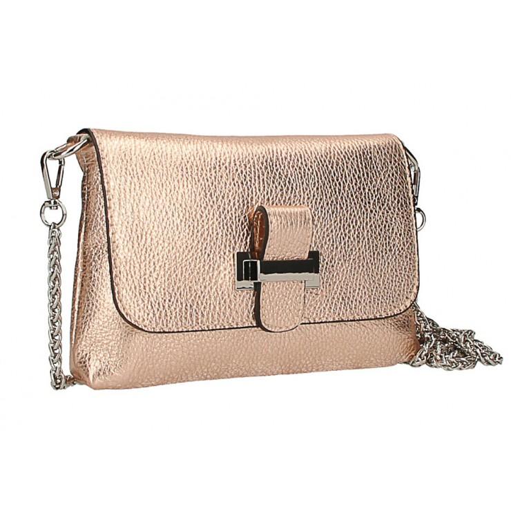 Kožená kabelka na rameno MI305 Made in Italy růžová metalíza