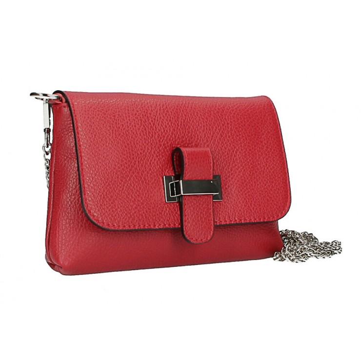 Kožená kabelka na rameno MI305 Made in Italy červená