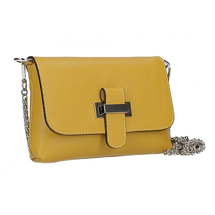 Leather messenger bag  MI305 Made in Italy mustard