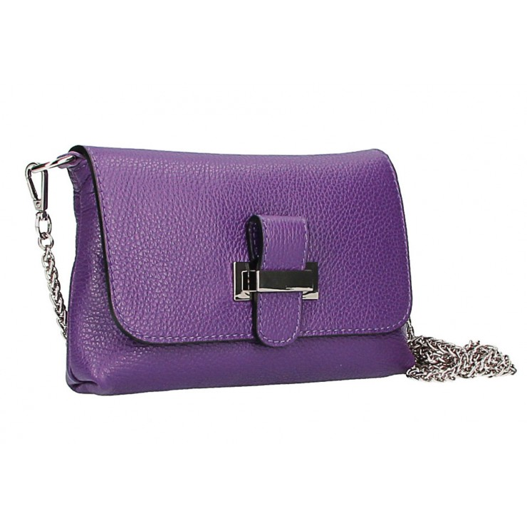 Leather messenger bag  MI305 Made in Italy purple