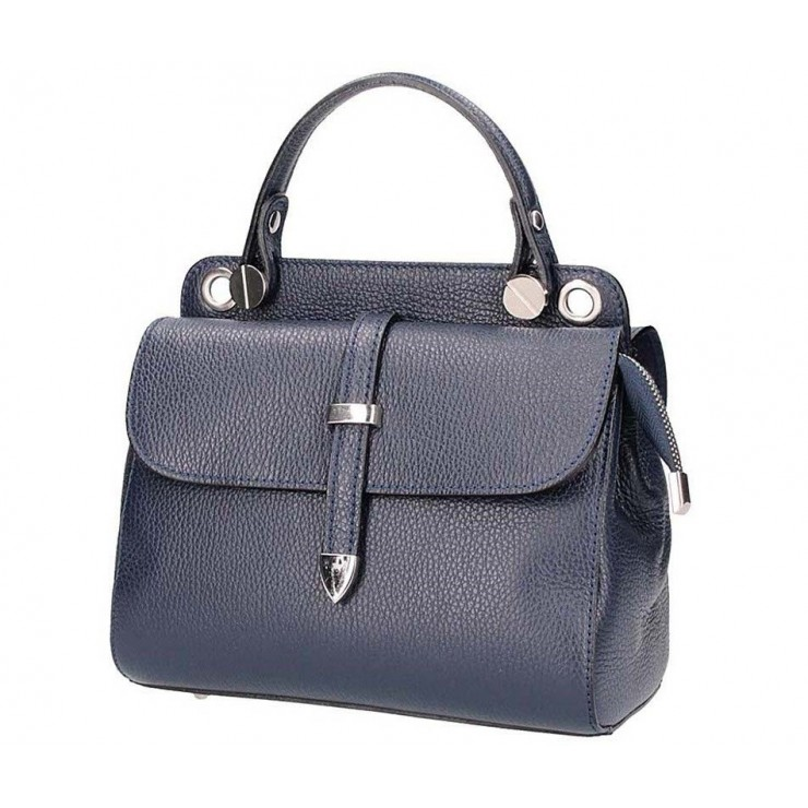 Genuine Leather Handbag 5315 dark blue
