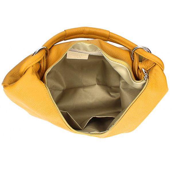 Kožená kabelka na rameno MI340 Made in Italy hnedá