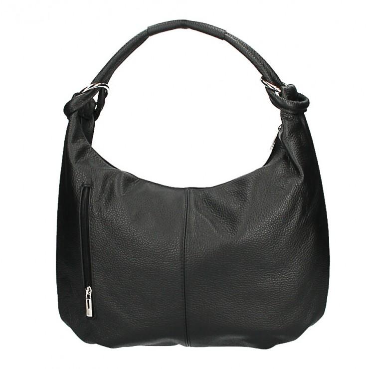 Genuine Leather Shoulder Bag MI340 Made in Italy black