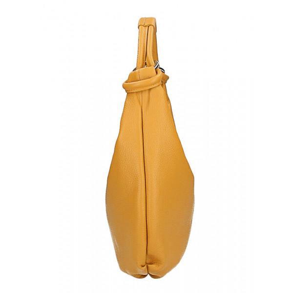 Kožená kabelka na rameno MI340 Made in Italy tmavohnedá