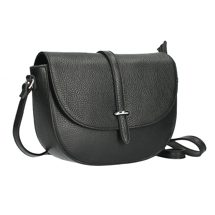 Leather messenger bag  MI359 Made in Italy black