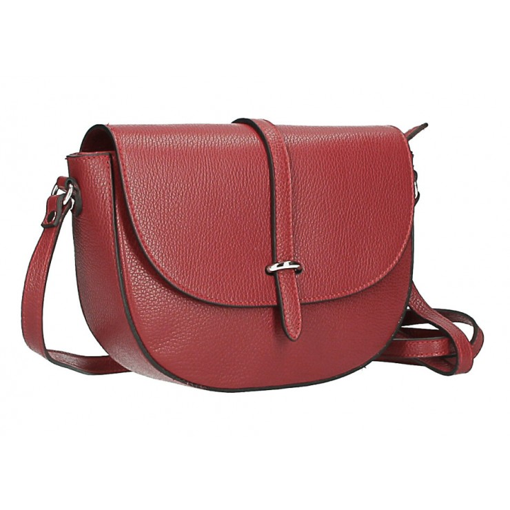 Leather messenger bag  MI359 Made in Italy dark red