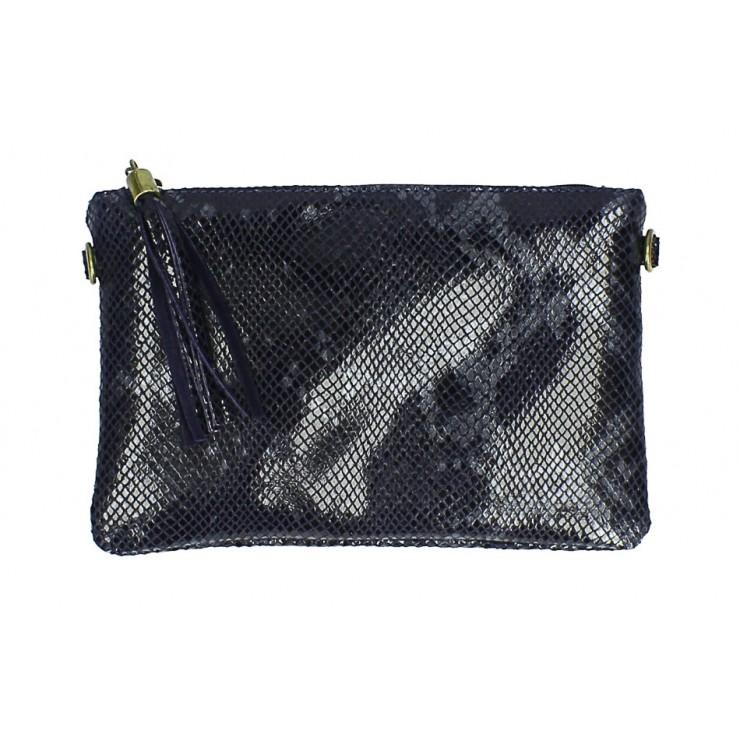 Kožená kabelka s potiskem hada MI311 Made in Italy tmavě modrá
