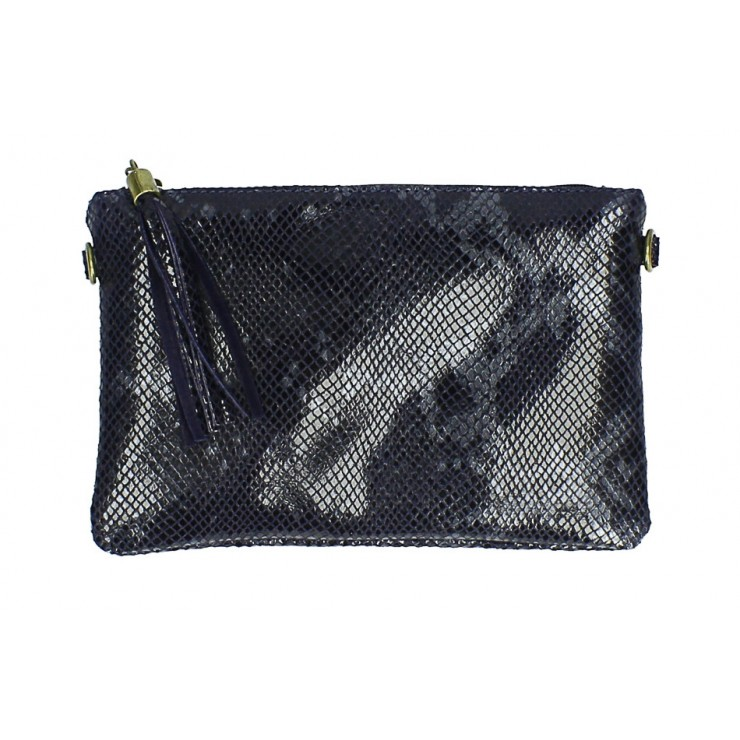 Snake stamp leather Clutch MI311 Made in Italy dark blue