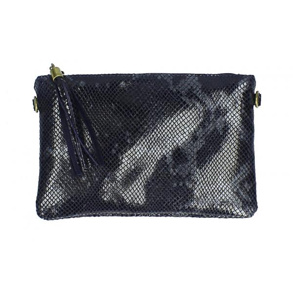 Kožená kabelka s potlačou hada MI311 Made in Italy tmavomodrá