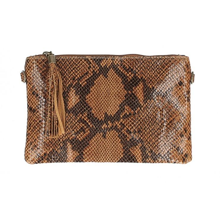 Kožená kabelka s potlačou hada MI311 Made in Italy koňaková