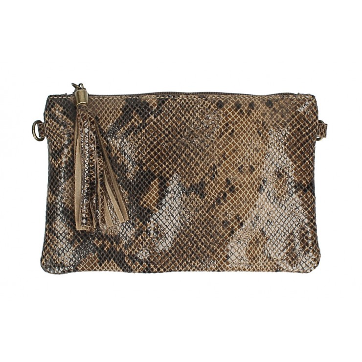 Snake stamp leather Clutch MI311 Made in Italy dark taupe