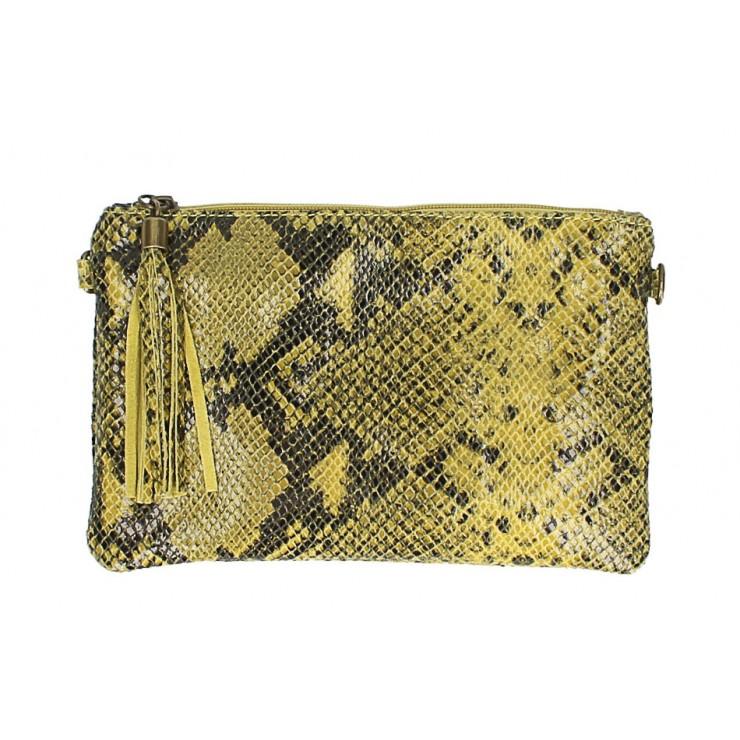 Kožená kabelka s potiskem hada MI311 Made in Italy žlutá