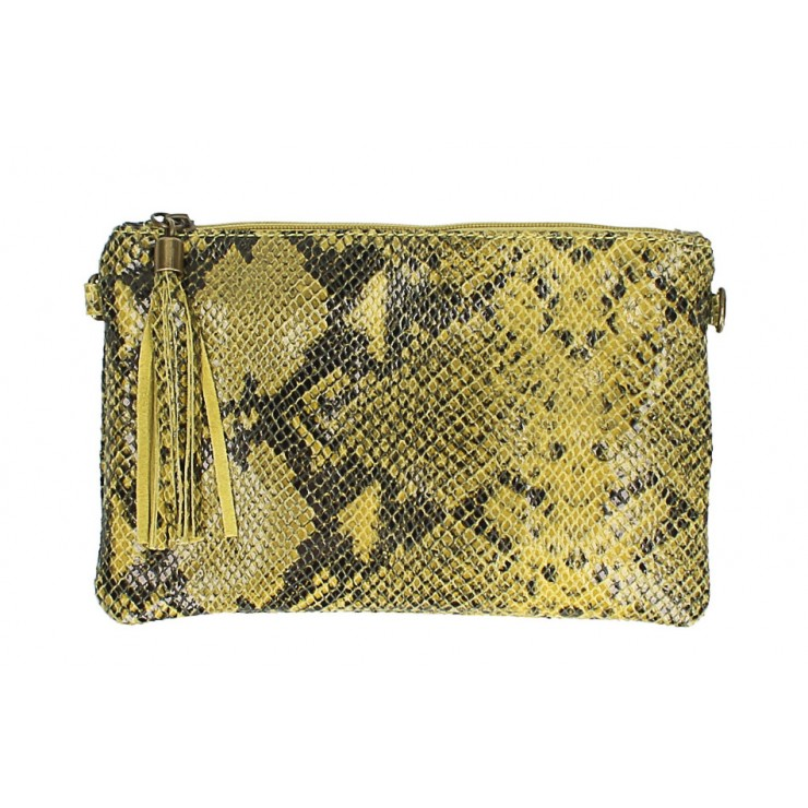 Snake stamp leather Clutch MI311 Made in Italy yellow