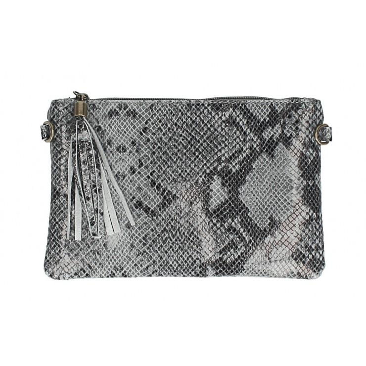 Kožená kabelka s potiskem hada MI311 Made in Italy šedá