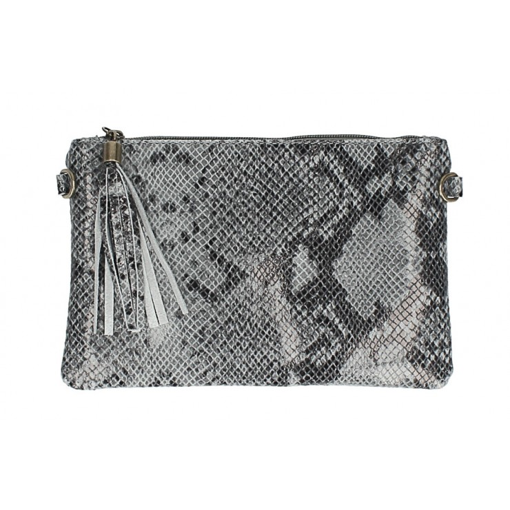 Snake stamp leather Clutch MI311 Made in Italy gray