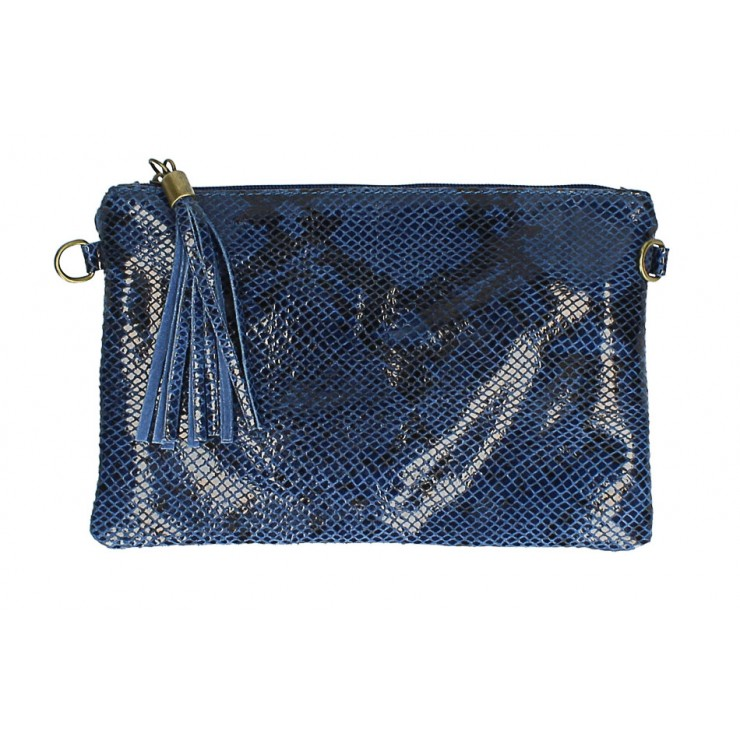 Snake stamp leather Clutch MI311 Made in Italy jeans