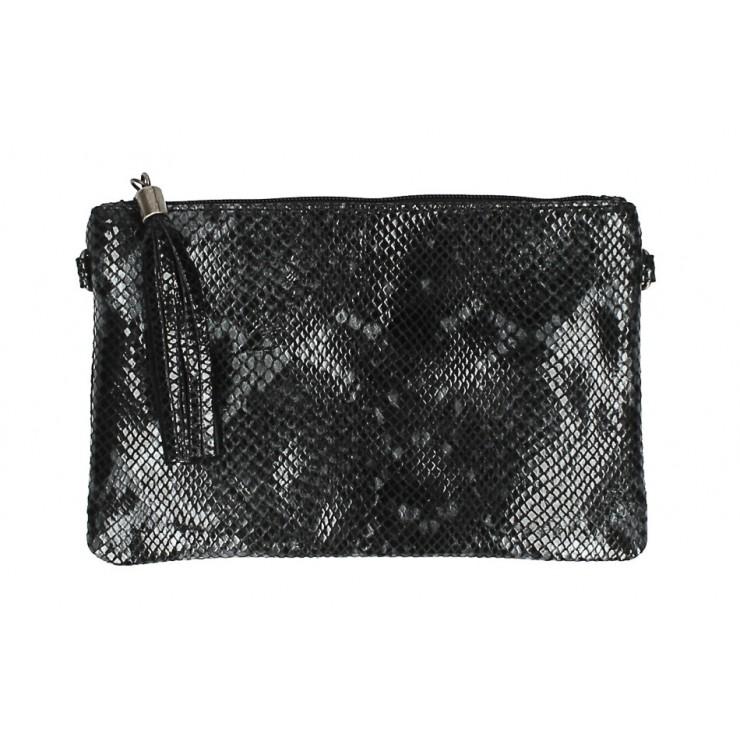Kožená kabelka s potlačou hada MI311 Made in Italy čierna