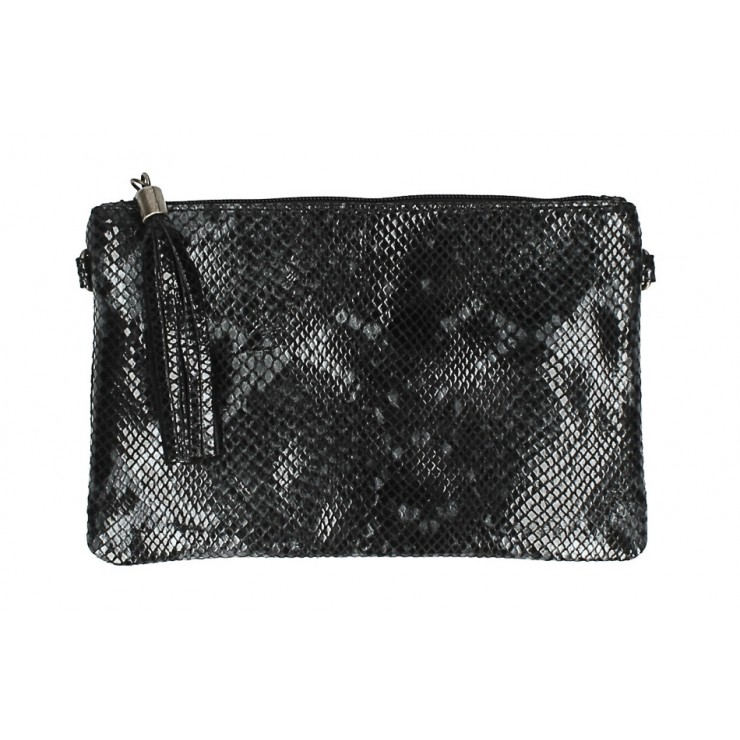 Snake stamp leather Clutch MI311 Made in Italy black