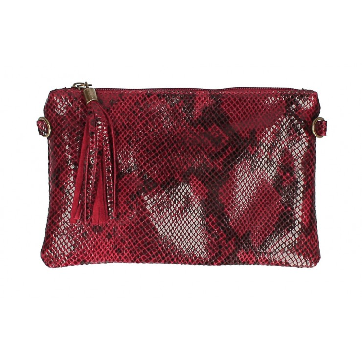 Snake stamp leather Clutch MI311 Made in Italy dark red