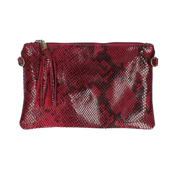 Kožená kabelka s potlačou hada MI311 Made in Italy tmavočervená