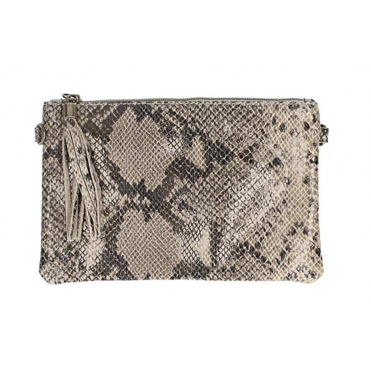 Snake stamp leather Clutch MI311 Made in Italy taupe