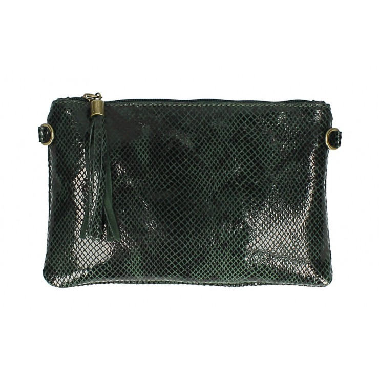 Snake stamp leather Clutch MI311 Made in Italy dark green