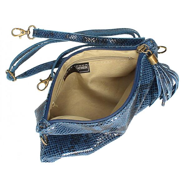 Kožená kabelka s potlačou hada MI311 Made in Italy tmavozelená