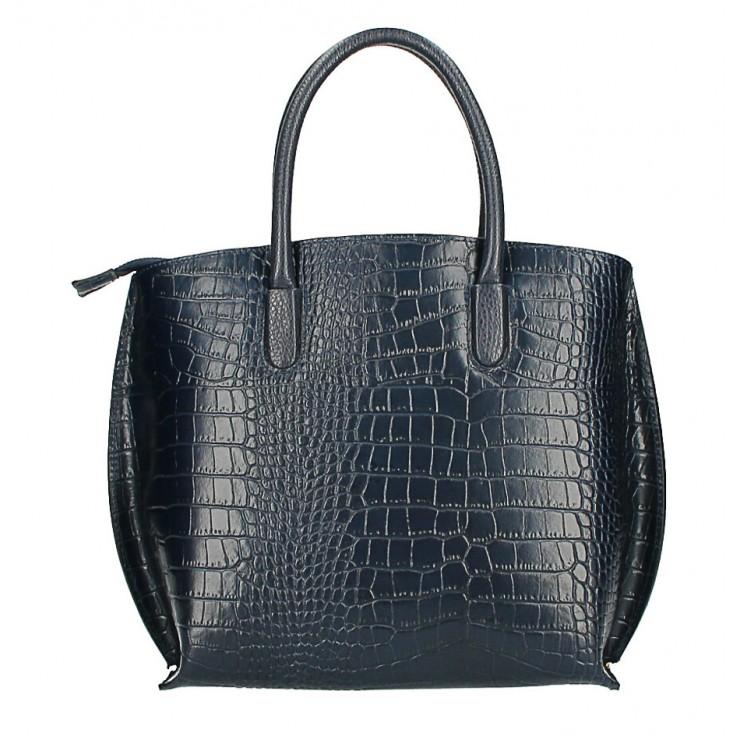 Leather handbag Crocco MI188 Made in Italy dark blue