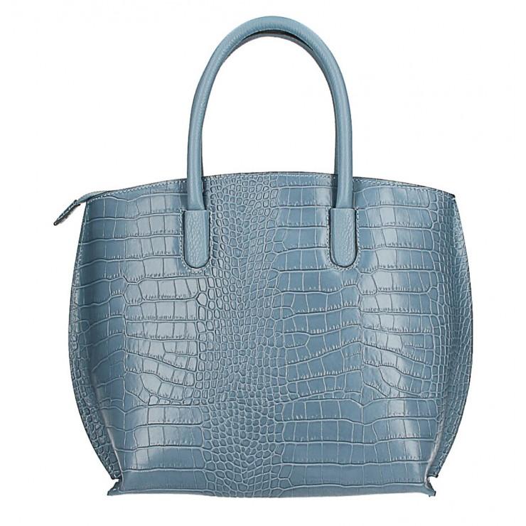 Leather handbag Crocco MI188 Made in Italy light blue