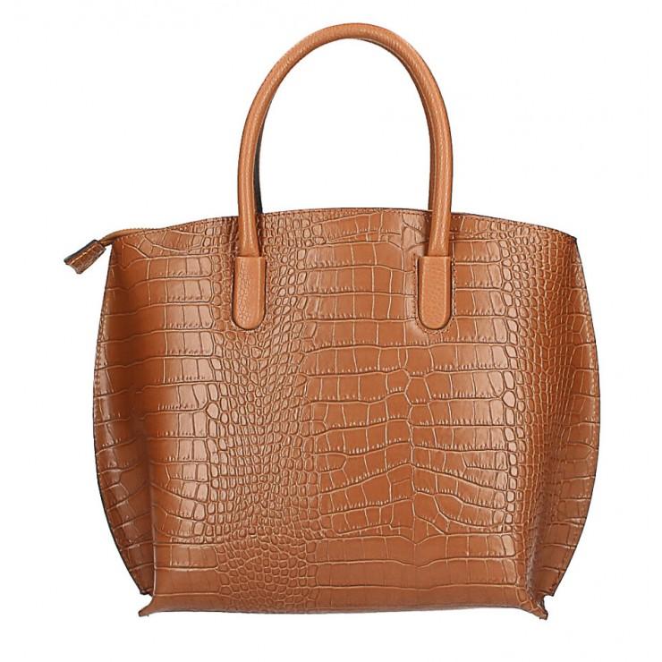 Leather handbag Crocco MI188 Made in Italy cognac