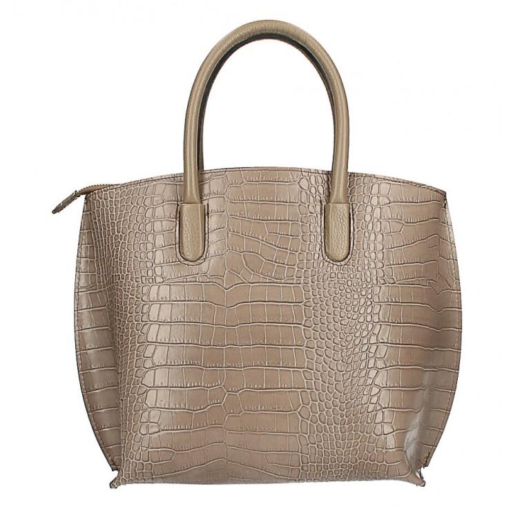 Leather handbag Crocco MI188 Made in Italy dark taupe