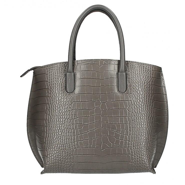Leather handbag Crocco MI188 Made in Italy dark gray