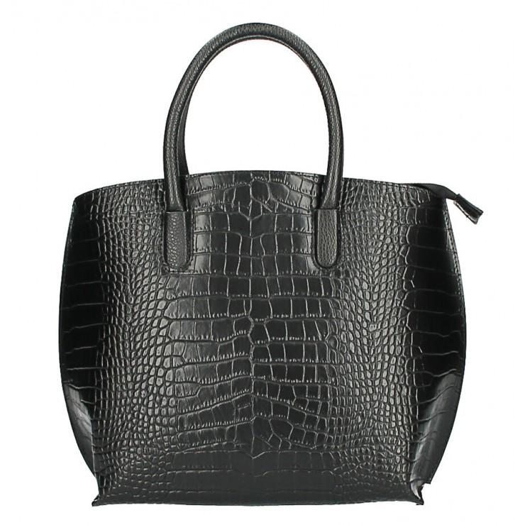 Leather handbag Crocco MI188 Made in Italy black
