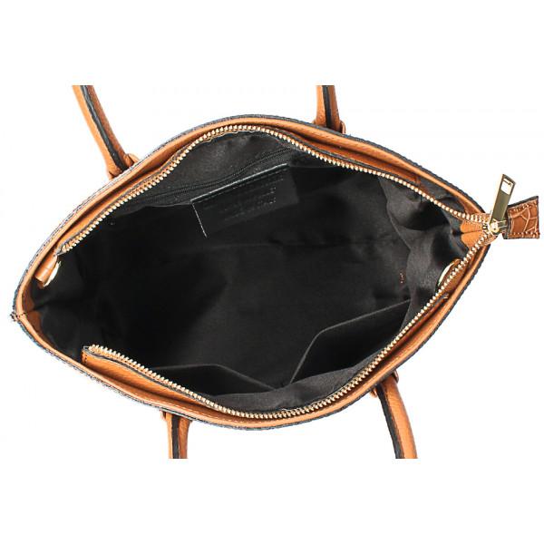 Kožená kabelka potlač kroko MI188 Made in Italy čierna