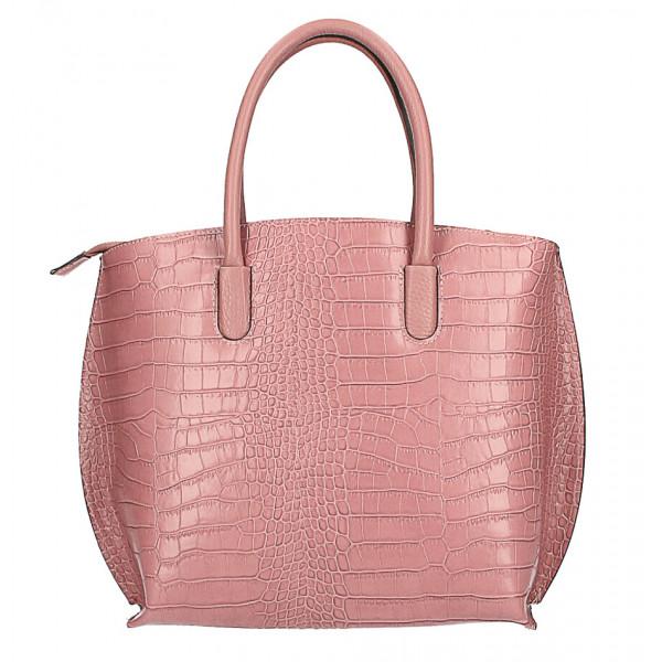 Kožená kabelka potlač kroko MI188 Made in Italy pudrovo ružová Pudrová ružová