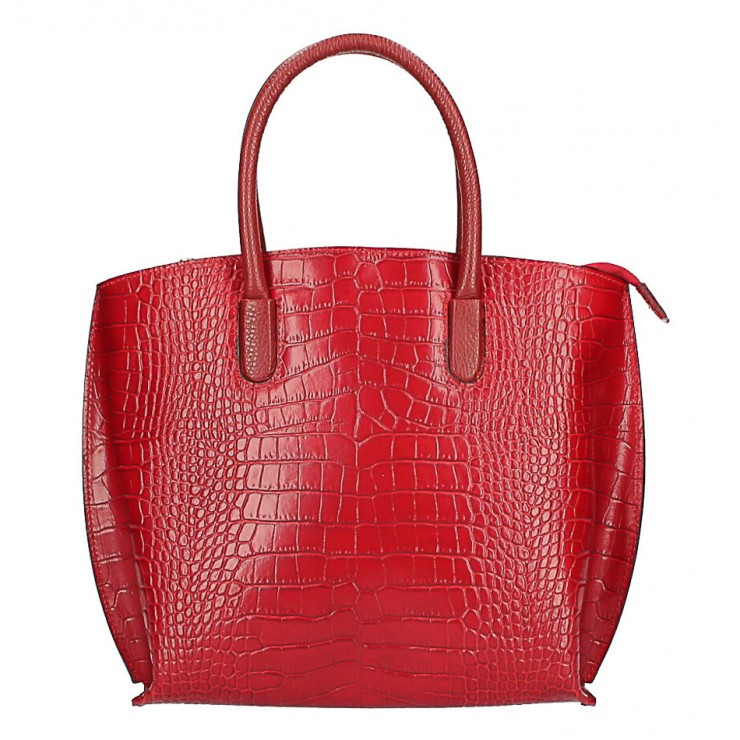 Leather handbag Crocco MI188 Made in Italy red