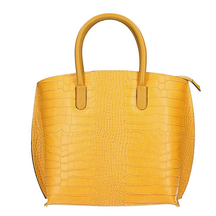 Leather handbag Crocco MI188 Made in Italy mustard