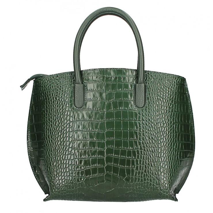 Leather handbag Crocco MI188 Made in Italy dark green