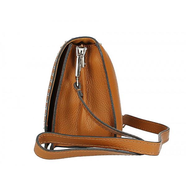 Kožená kabelka s cvokmi MI206 Made in Italy modrá