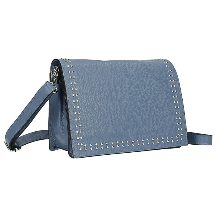 Kožená kabelka s cvokmi MI206 Made in Italy nebesky modrá
