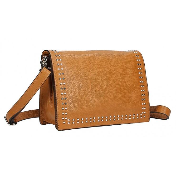 Kožená kabelka s cvokmi MI206 Made in Italy koňaková