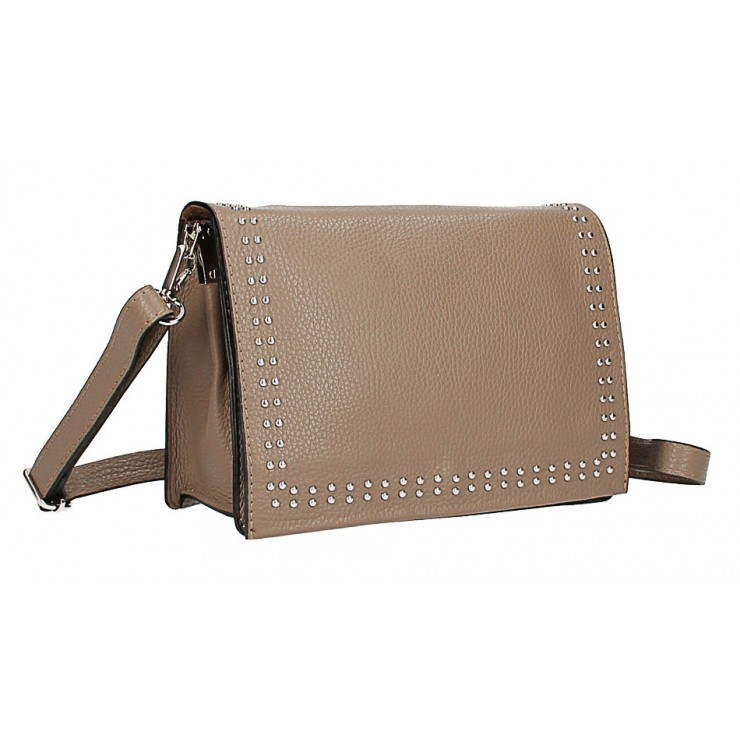 Leather Handbag MI206 Made in Italy dark taupe